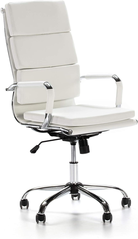 VS Venta-stock Sillón de Oficina Morgan reclinable Blanco, Piel sintética, Silla ejecutiva con reposacabezas y conjín engrosados, Altura Ajustable, Diseño ergonómico