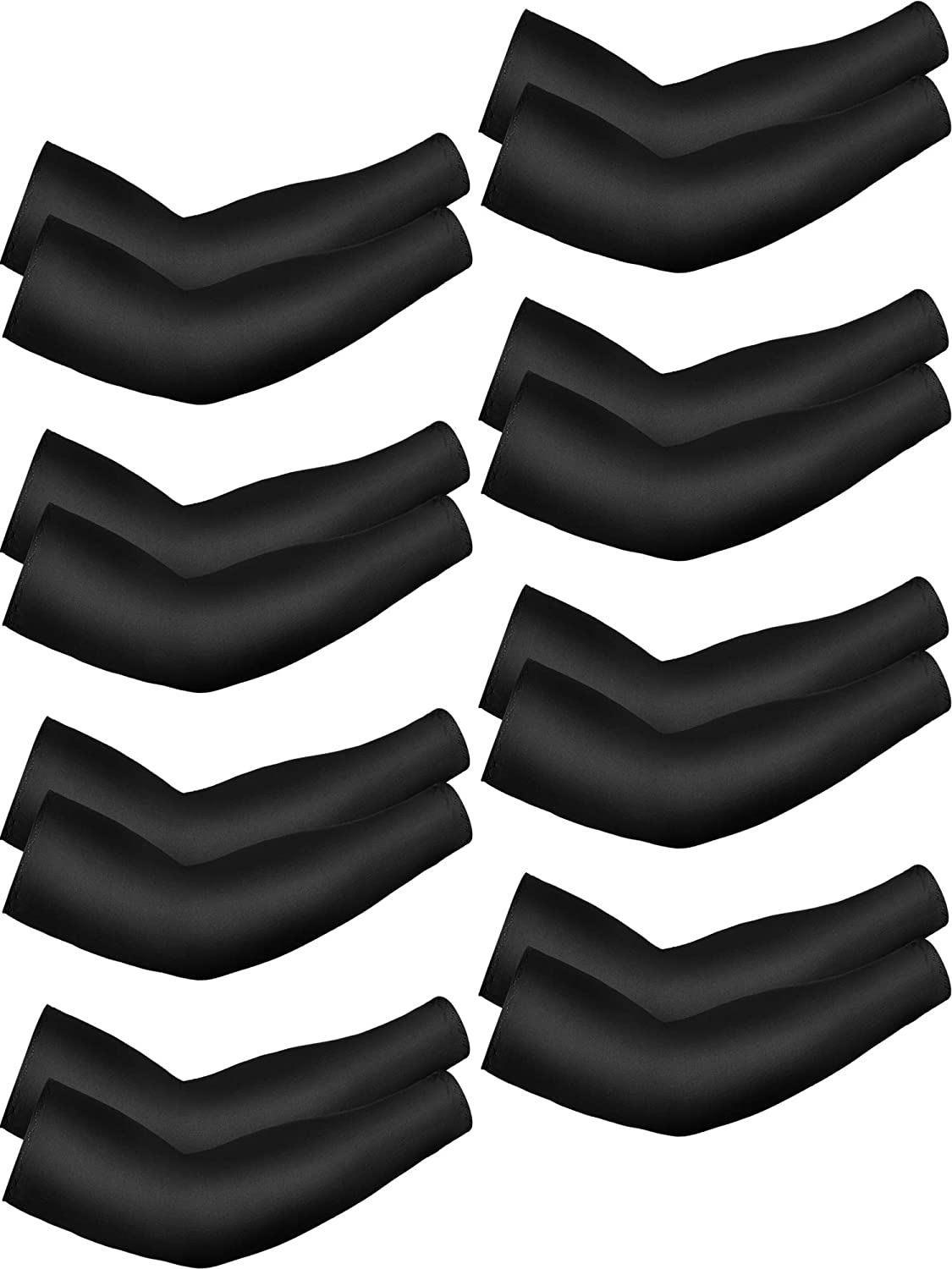 Mudder 8 Pairs Unisex UV Protection Arm Cooling Sleeves Ice Silk Arm Cover (Black, Enlarged Size)