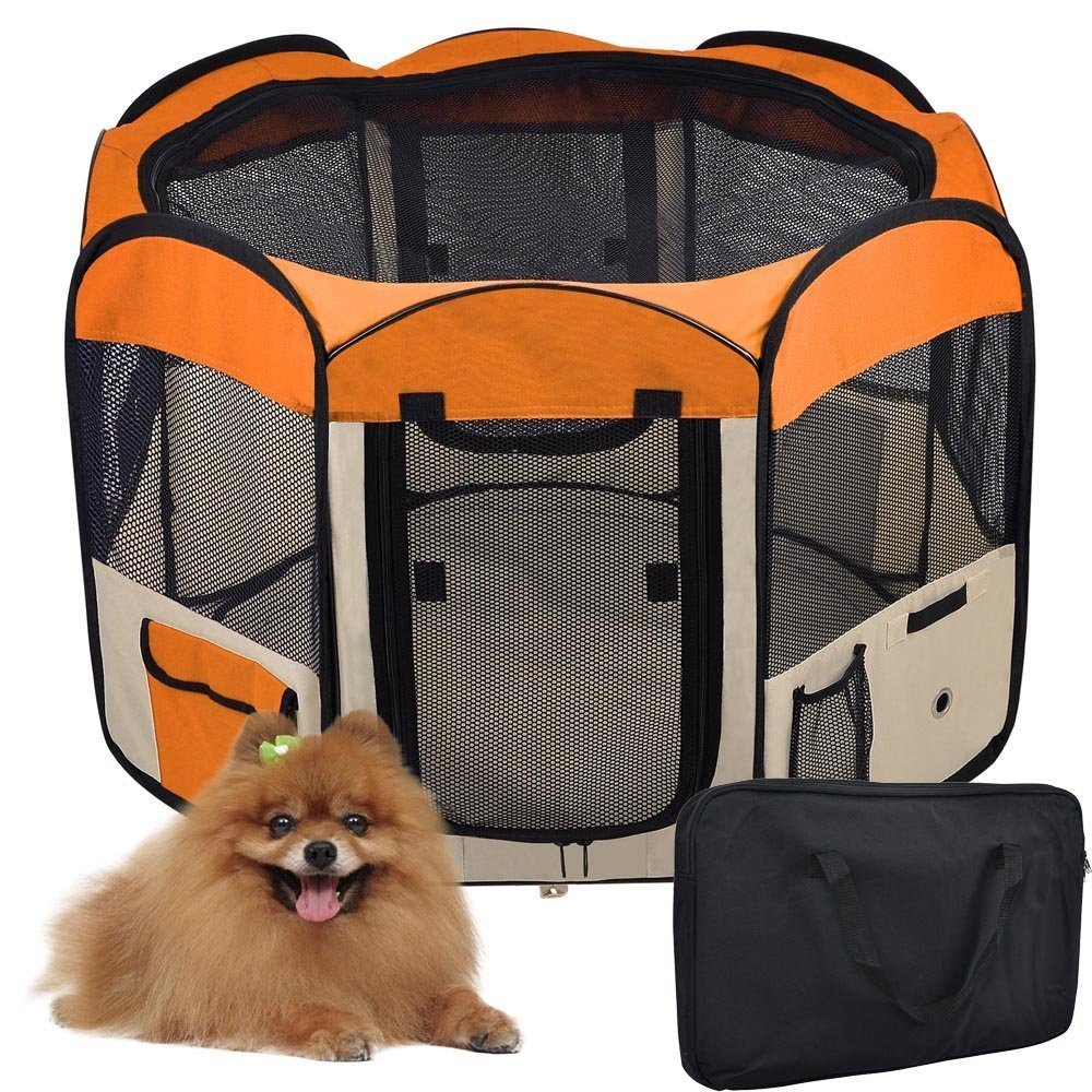 48'' Dia. 36 1/4'' Height 2-Door Waterproof 600D Oxford Cloth Soft Sided Pet Playpen Octagon Portable Pen Dog Puppy Tent Exercise Train Kennel Orange