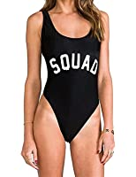 MNLYBABY Womens Sexy One-Piece Swimsuit Letter Printed High Cut Legs Backless Monokini