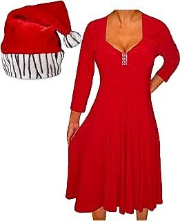 product image for Funfash Plus Size Women Red Holiday Season Christmas Zebra Santa Hat Dress