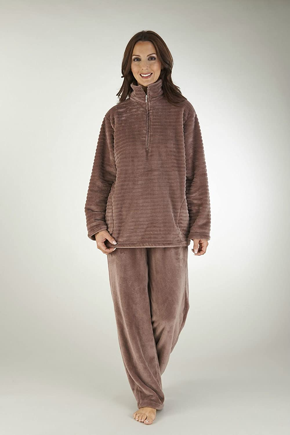 Slenderella Luxury Stripe Fleece Pyjamas - Black, Taupe, Cream - S/M/L/XL