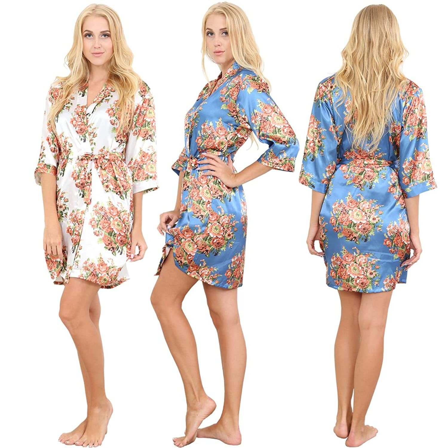 Set of 3 Women's Satin Short Floral Wedding Robes - Bridesmaids Dressing Gown