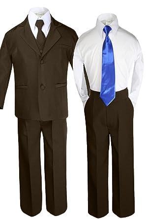 d45d1c91f31a Unotux 6pc Boy Dark Brown Suit Set with Satin Royal Blue Necktie Outfit All  Size (
