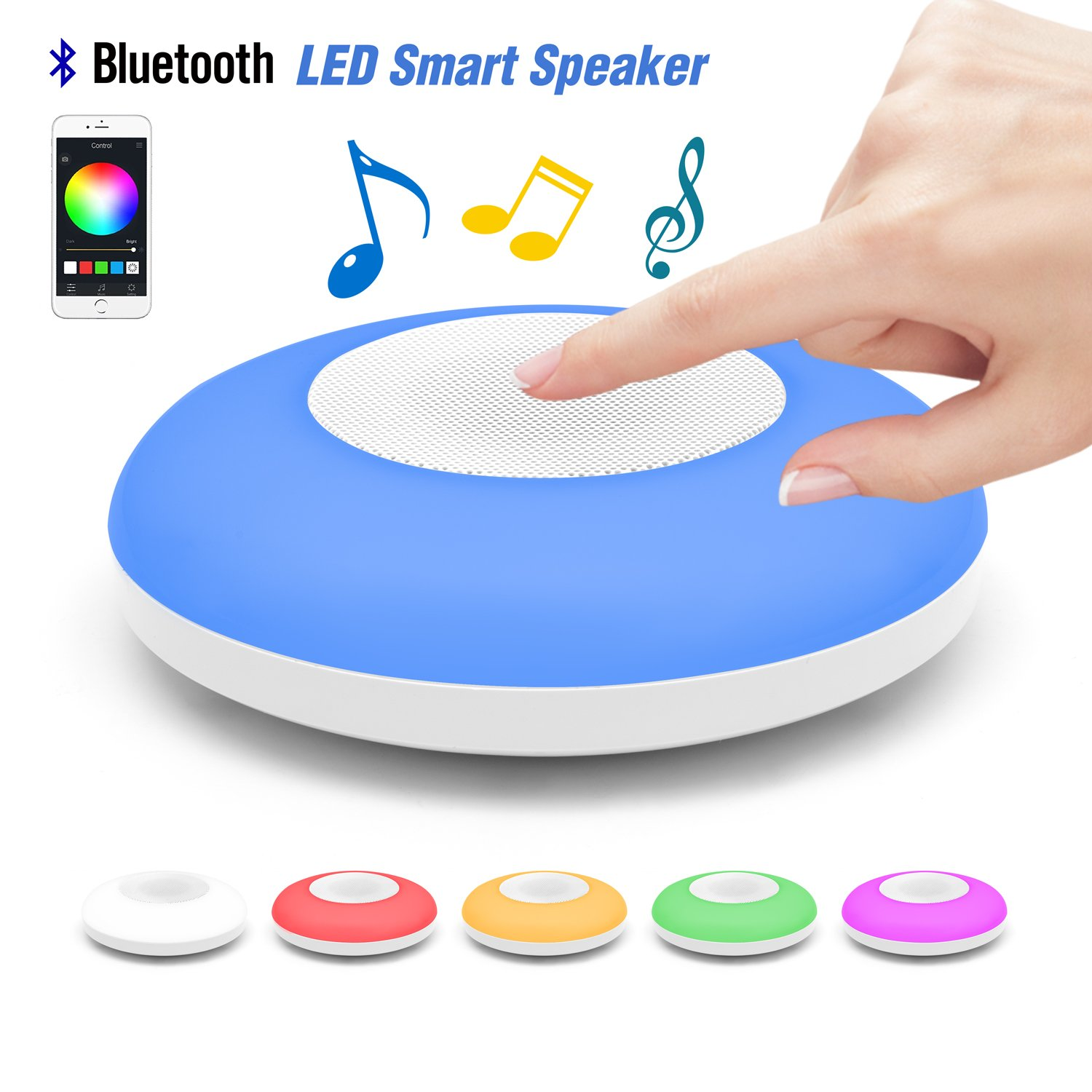 Valentines Gift Led Night Light Pocket Bluetooth Speaker UFO,Table LED Bedside Lamp,Hi-Fi Remote Controlled by iOS/Android Cell Phone,Perfect for Party,Home Enjoyment,Guest Entertaining,Outdoor Travel