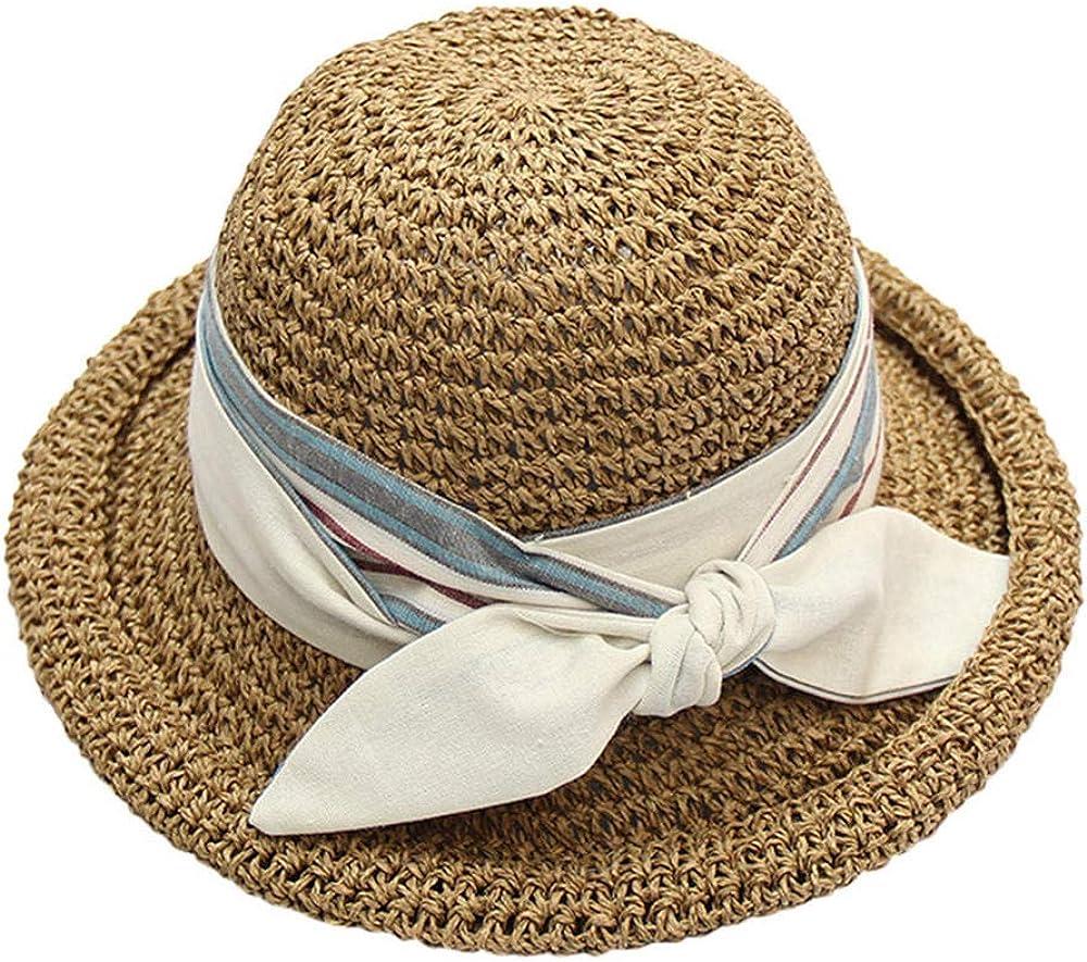 2020 Sombreros de Verano para Mujeres Sombrero de Paja Gorras deSol Plegables Cinta Sombrero de Playa de Paja Redondo Plano Superior Panamá