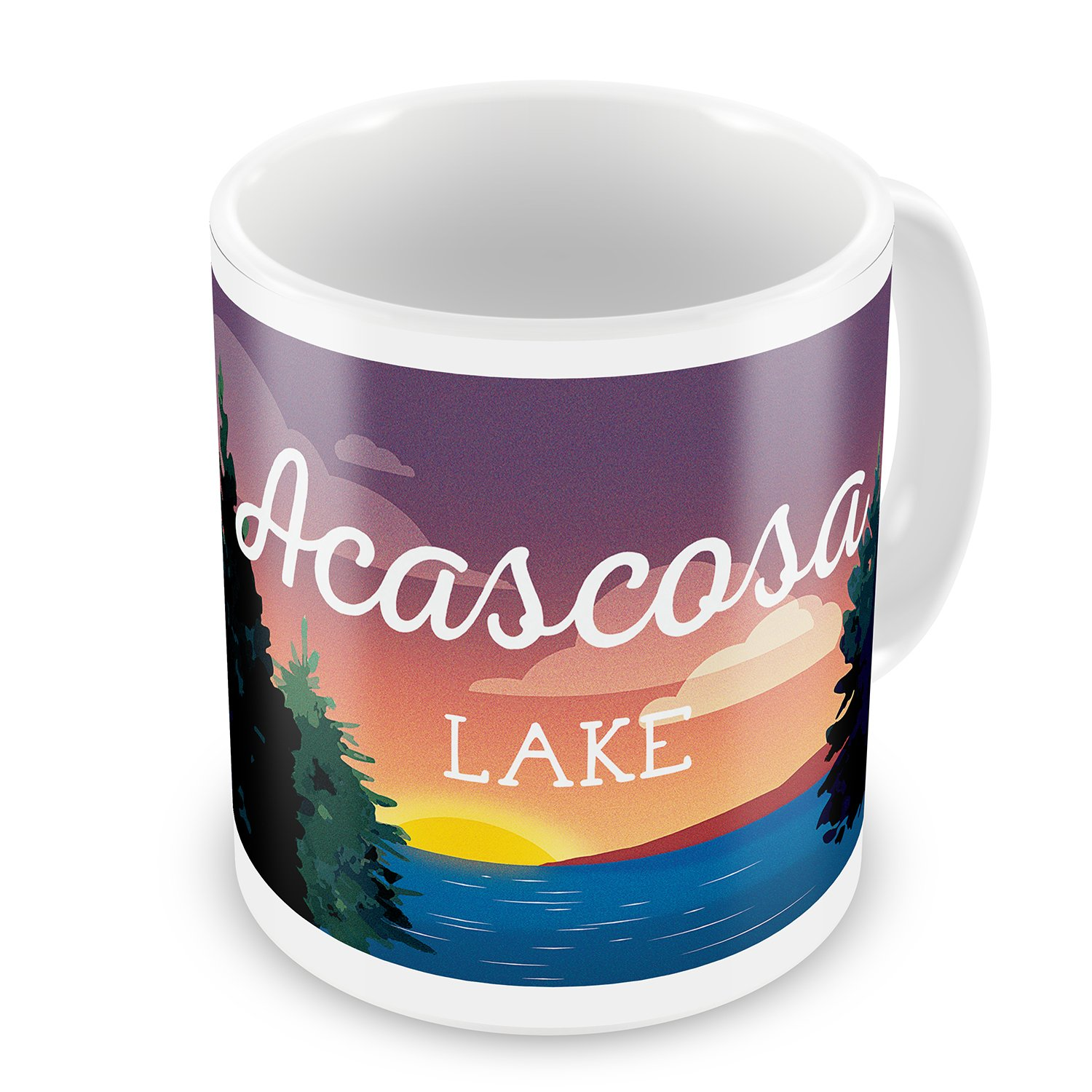 Amazon.com: Coffee Mug Lake retro design Acascosa Lake - NEONBLOND: Kitchen & Dining