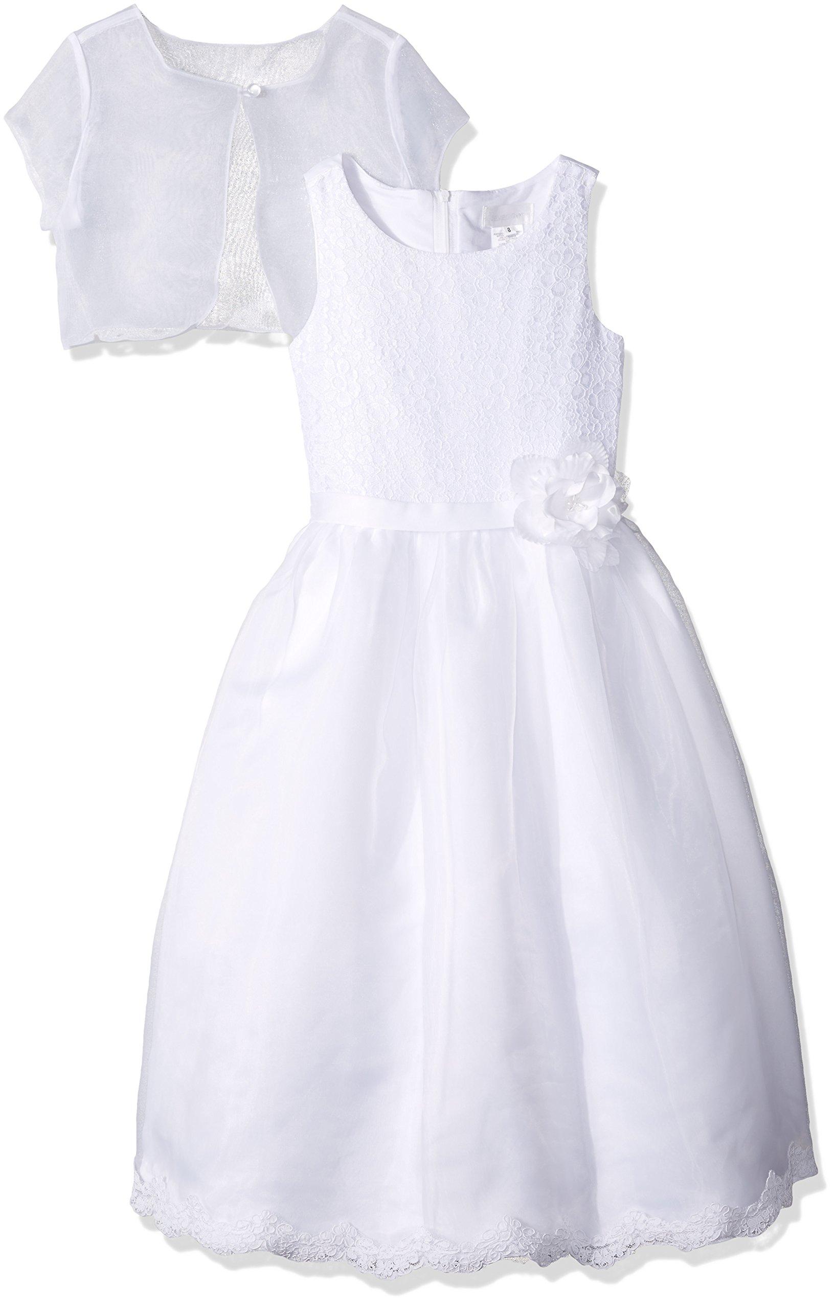Lavender Big Girls' 2pc Dress Lace Front Bodice and Organza Bolero, White, 10
