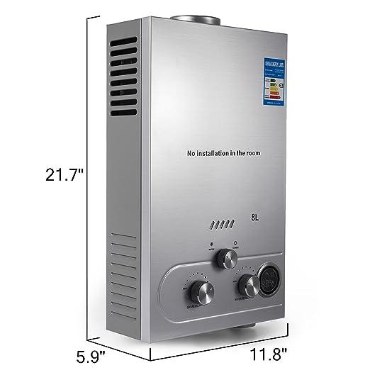 Guellin LNG Calentador de Agua de Gas Natural Calentador de Agua Calentador de Agua Automático Calentador de Agua Instantáneo Natural Gas Water Heater (8L): ...