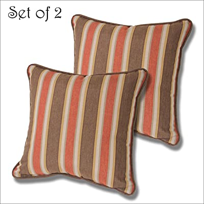 Comfort Classics Inc. Set of 2 Square Outdoor Welted Throw Pillow 15x15x5. Polyester Fabric Stripe Nutmeg : Garden & Outdoor