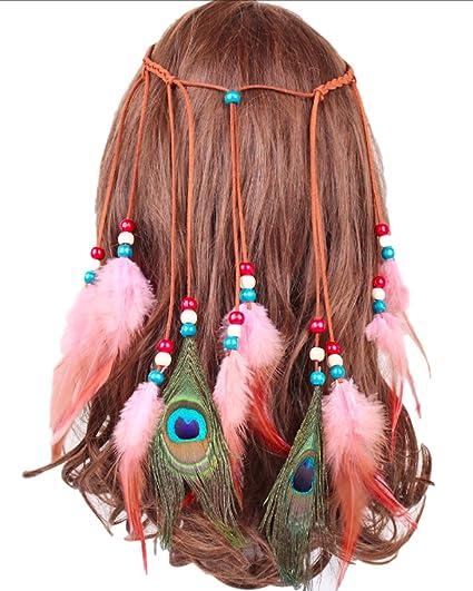 P-LINK Headwear Feather Fascinator Headband Tassels Hair Band Women Girls  Hairbands Tassel Rope Hemp 9514e4727259