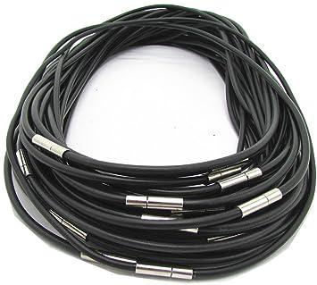 Armband Kautschukband schwarz Dicke 3 mm mit 10 Stück 3mm Halskette