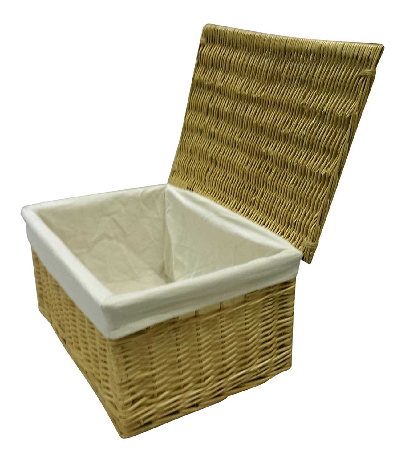 Buff Willow Wicker Storage Chests/Lids / Baskets/Crafts / Lined/Hamper (X-Small: L32 x W20 x H20cm) Choice Baskets