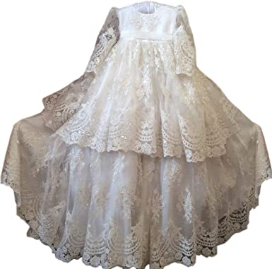 Faithclover Christening Baptism Gowns Baby Girls Toddler Long Sleeves Lace Bonnet