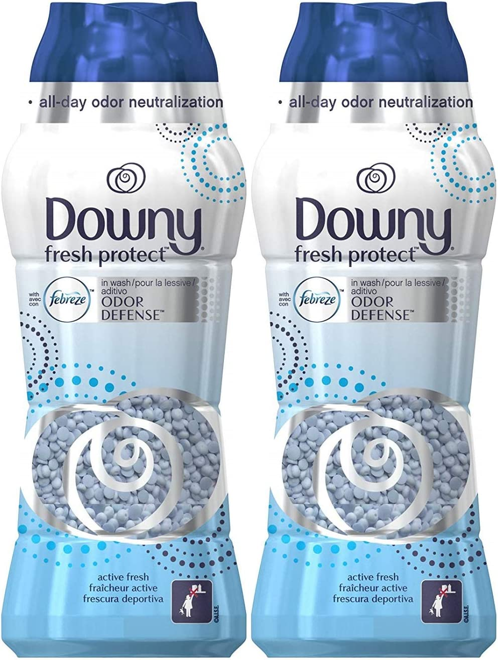 DownyFresh Protect in-Wash Odor Defense Scent Beads, Active Fresh, 30.3 Ounce (Pack of 2)