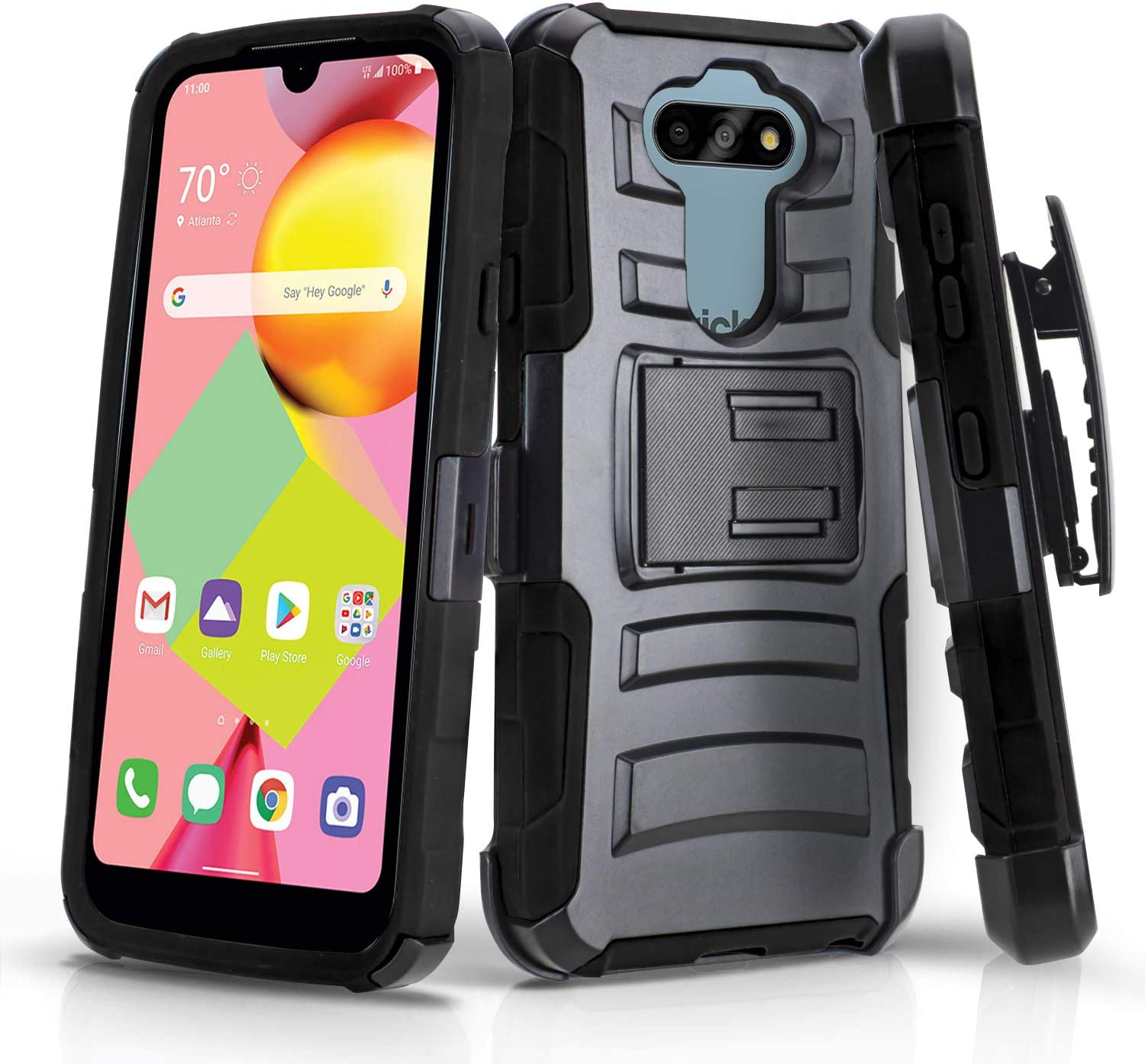 CasemartUSA Phone Case for [LG Risio 4 (Cricket Wireless)], [Refined Series][Black] Shockproof Protective Cover with Built-in Kickstand & Swivel Belt Clip Holster for LG Risio 4 (Cricket Wireless)