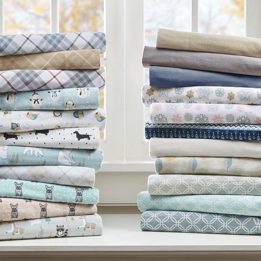 True North Sleep Philosophy Cozy Flannel Sheet Set Aqua Geo Twin XL