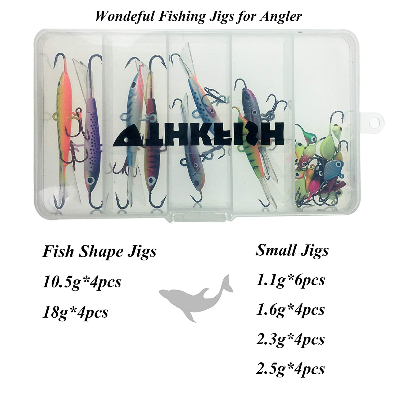 thkfish Ice Fishing Lure 26pcs 1.1g-18g Assorted Ice Fishing Jigs Walleye Winter Fishing Lures ice Box Set