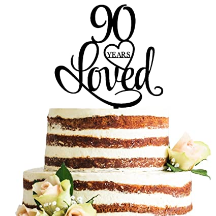 Black Acrylic 90 Years Loved Cake Topper 90th Birthday Anniversary Party Decorations