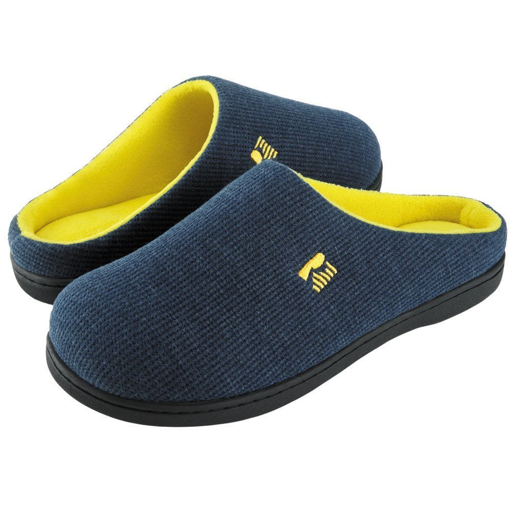 RockDove Men's Two-Tone Memory Foam Slipper(11-12 D(M) US, Blue/Maize) by RockDove