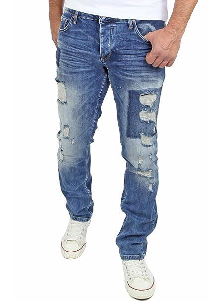 Reslad Jeans Herren Hose Cut Off Slim Fit Destroyed Jeanshosen RS-2074 Blau   Amazon.de  Bekleidung 2446c61b85