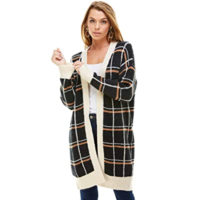 A+D Womens Open Front Longline Pattern Cardigan - Grid Stripe Print Sweater at Amazon Women's Clothing store