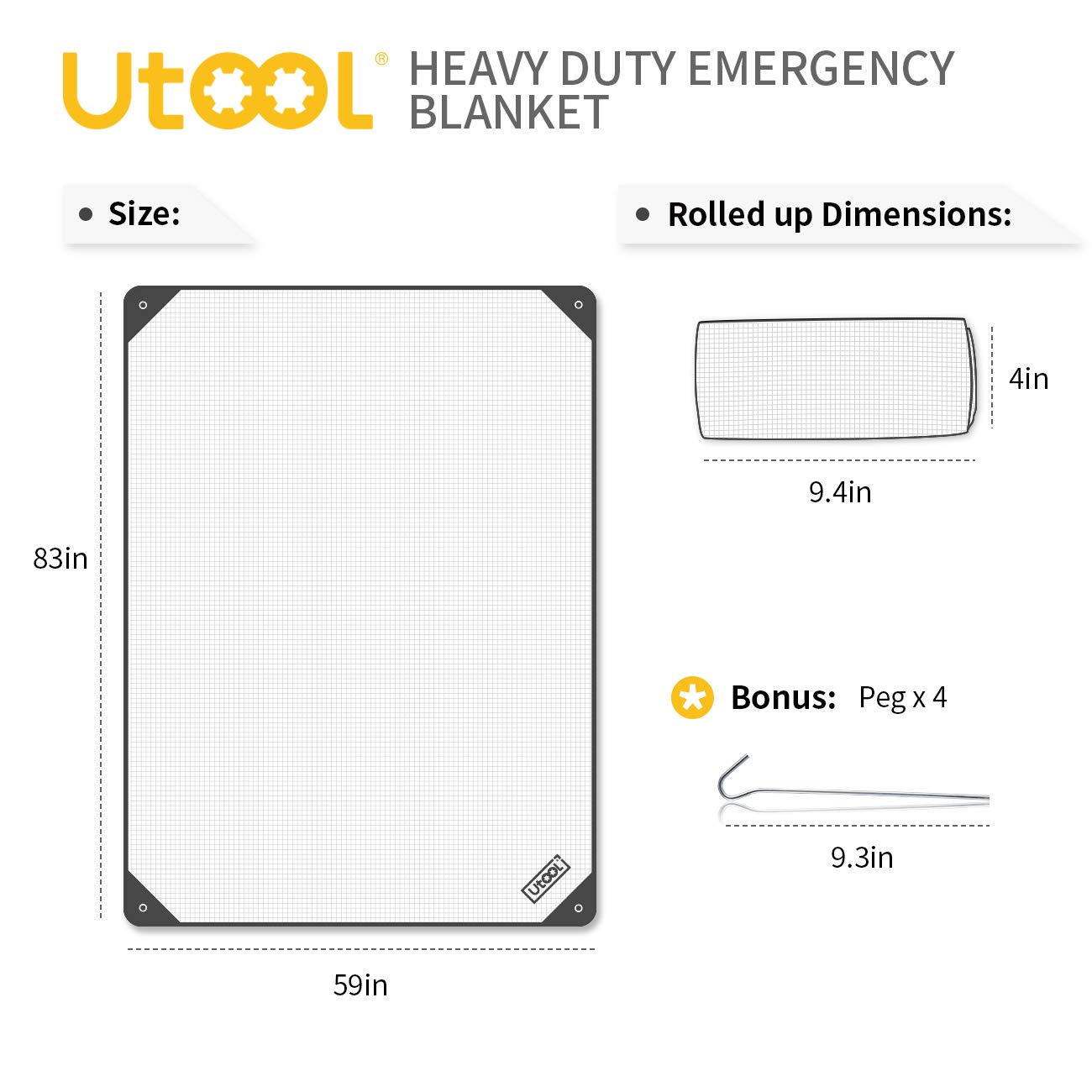 UTOOL Heavy Duty Emergency Blanket Tarp, Extra Large Thermal