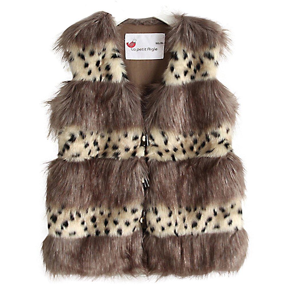 Fairy Couple Little Girl's Leopard Printed Stripe Faux Fur Outwear Vest K3006