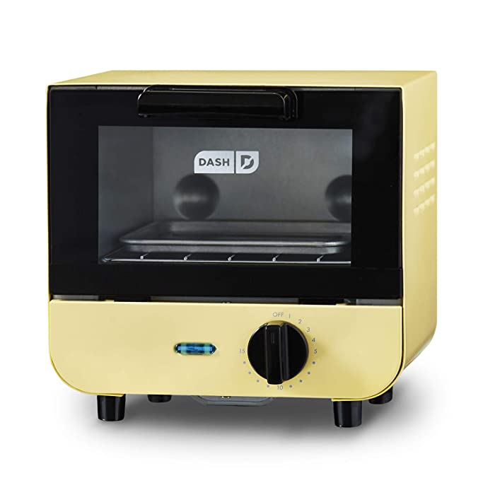 DASH DMTO100GBPY04 Mini Toaster Oven Cooker for Bread, Bagels, Cookies, Pizza, Paninis & More with Baking Tray, Rack + Auto Shut Off Feature Yellow