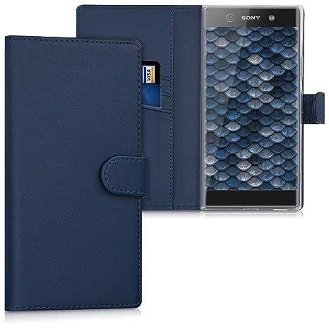 kwmobile Funda para Sony Xperia XA1 Ultra - Carcasa de [Cuero sintético] - Case con Tapa y [Tarjetero] en [Azul Oscuro]