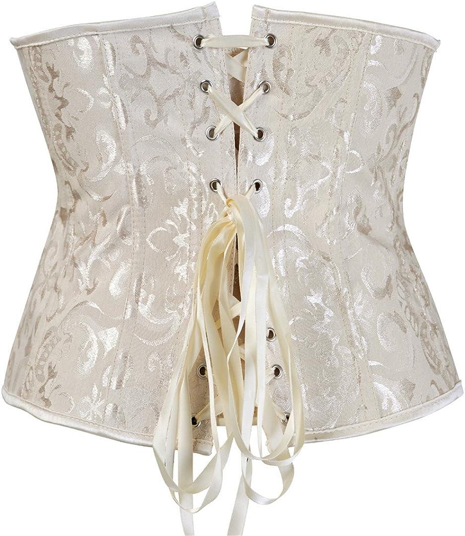 Kranchungel Womens Vintage Underbust Corset Bustier Waist Cincher Bodyshaper