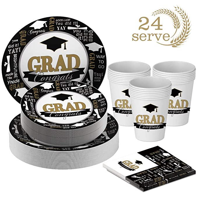 Serves 24 Knives Perfect Patriotic Party Pack for Grad Themed Parties Spoons Includes Plates Juvale Graduation Party Supplies Forks Cups and Napkins