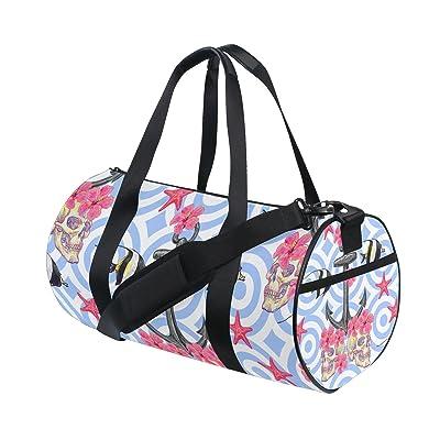 U LIFE Striped Anchor Floral Flowers Ocean Sea Starfish Sports Gym Shoulder Handy Duffel Bags for Women Men Kids Boys Girls