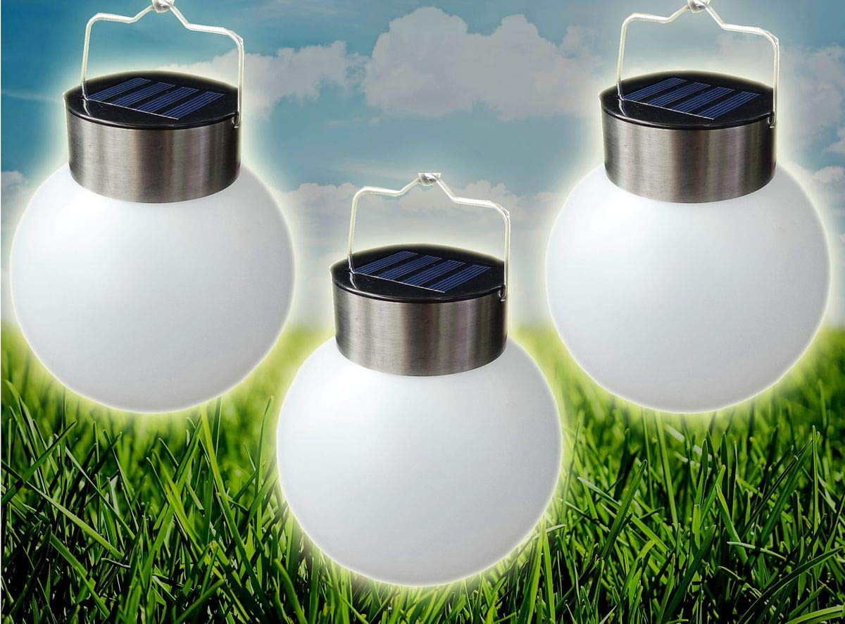 3x LED Solar Kugel zum Aufh/ängen 13cm Gartenlampe Leuchtkugel H/ängelampe