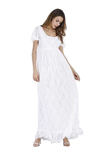 fd228e392dd0 Donna Vestiti Lunghi Taglie Forti Moda Abito Premaman Elegante in Pizzo  Vestito Estivo Lungo Maniche Volant