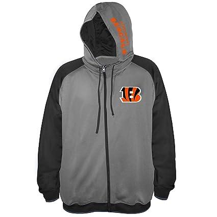 Amazon.com   NFL Mens Bengals Full Zip Poly Fleece Raglan   Sports ... 73953b0a6951