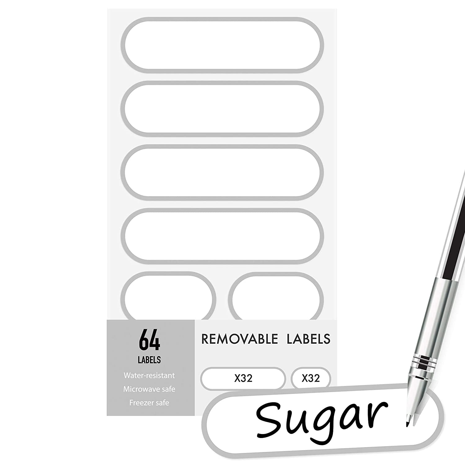 Removable Write-On Food Labels, Waterproof Kitchen Labels for POP Food Storage Containers and Home Organization, Pack of 64