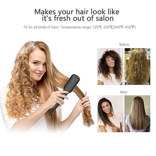 cepillo alisador de pelo, iFanze cepillo alisador de pelo ionico, cepillo alisador electrico, Pantalla LCD, Temperatura Ajustable, Plancha de cerámica con ...