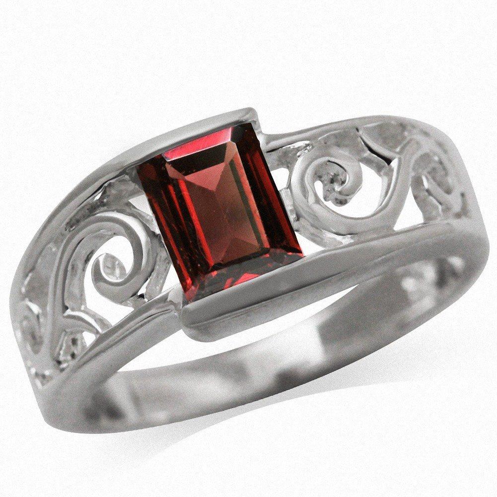 Natural Garnet 925 Sterling Silver Filigree Solitaire Ring Silvershake 1.33ct