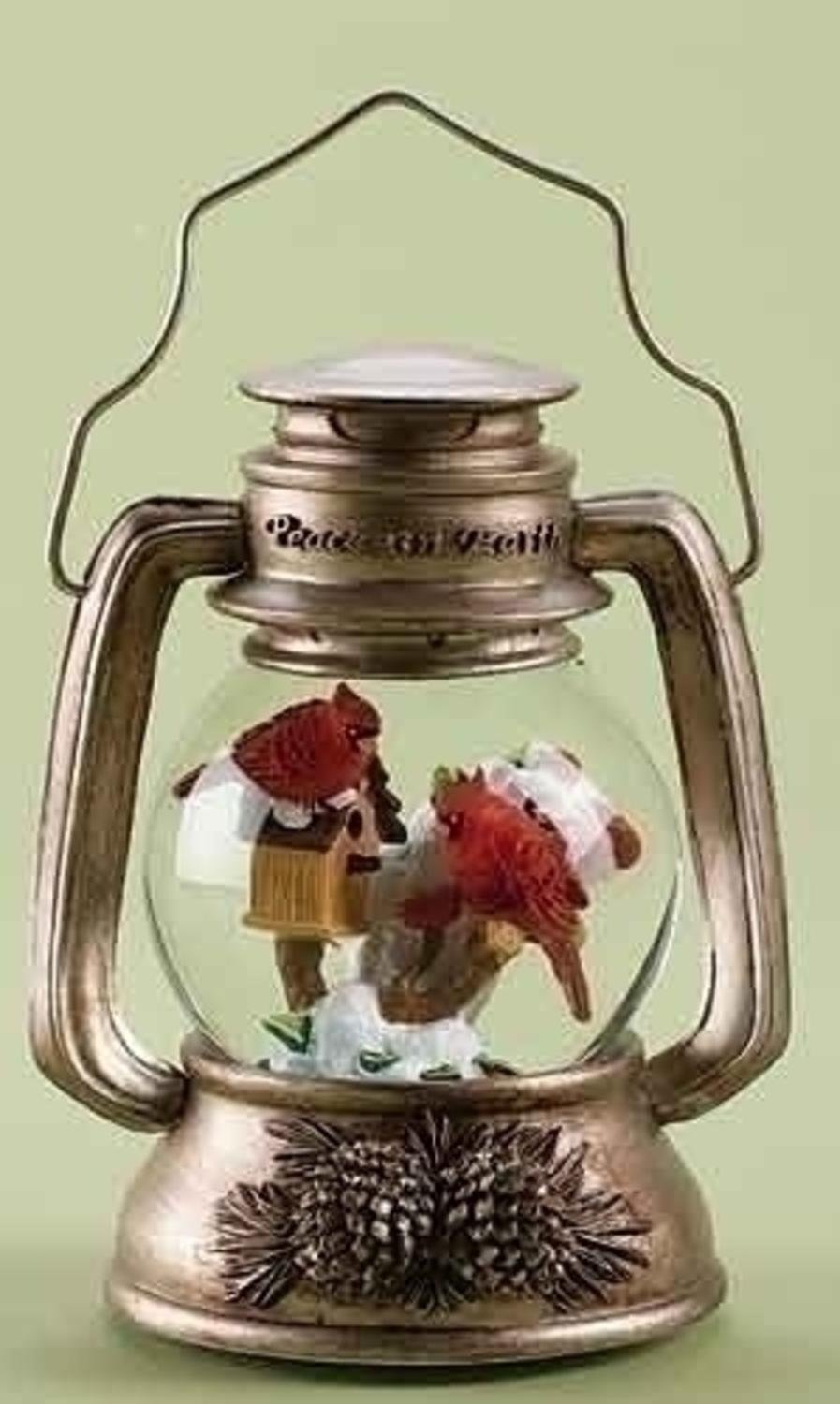 "10"" Musical Cardinal Bird Lantern Christmas Snow Globe Glitterdome Decoration Roman 16462746"