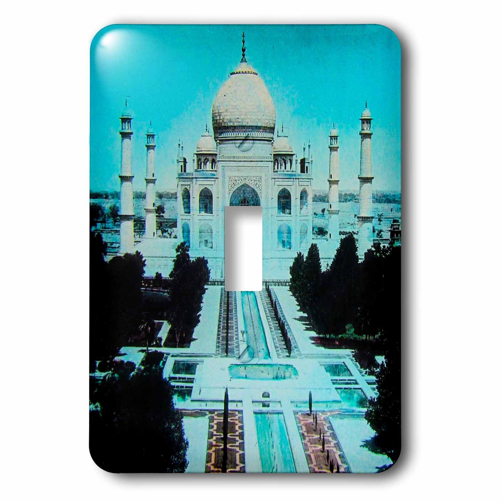 3dRose (lsp_246865_1) Single Toggle Switch (1) Vintage India Exterior of the Taj Mahal No. 1 1910 Hand Colored