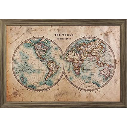 Az mid 1800s old world map of western eastern hemispheres paper az mid 1800s old world map of western eastern hemispheres paper poster antique golden frame gumiabroncs Gallery