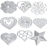 Cutting Dies Cut Metal Scrapbooking Love Heart Square Flower Star Sunflower Stencils Nesting Die for DIY Embossing Photo Album Decorative DIY Paper Cards Making Craft 9set (Set 5)
