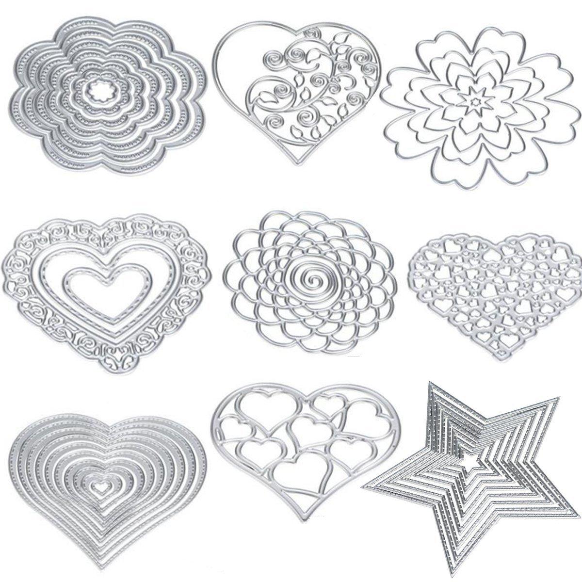 Cutting Dies Cut Metal Scrapbooking Love Heart Square Flower Star Sunflower Stencils Nesting Die for DIY Embossing Photo Album Decorative DIY Paper Cards Making Craft 9set (Set 5)