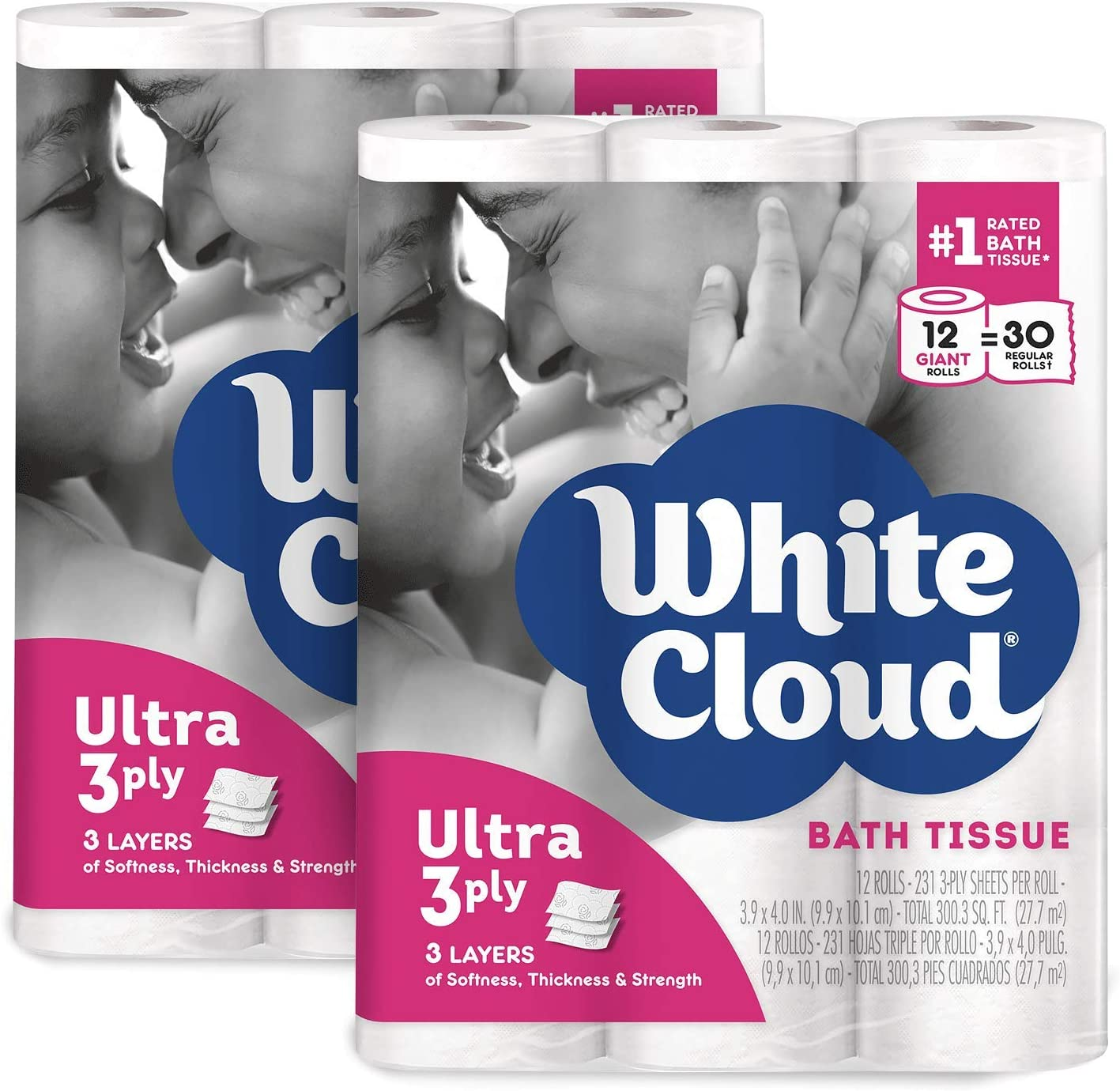 White Cloud Ultra Soft & Thick 3-Ply Toilet Paper – 2-Pack of 12 Rolls, 24 Total Giant Rolls, 231 Sheets per Roll