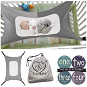 Baby Hammock for Crib, Mimics Womb, Bassinet Hammock Bed, Enhanced Material, Upgraded Safety Measures, Newborn Infant Nursery Bed by Baby&Joy (Bonus Gift Bag) (Gray)