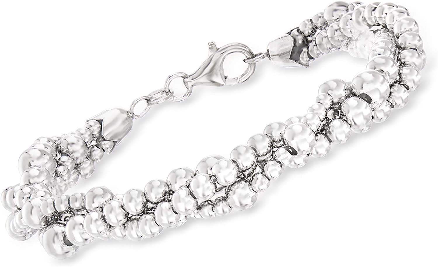Ross-Simons Italian Sterling Silver Twisted Multi-Bead Bracelet For Women 7.5, 8.5 Inch 925 Made in Italy