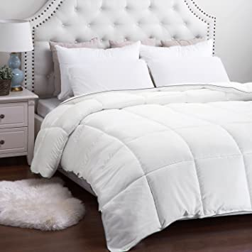 Bedsure Designs Down Alternative Comforter with Corner Ties, Twin, White