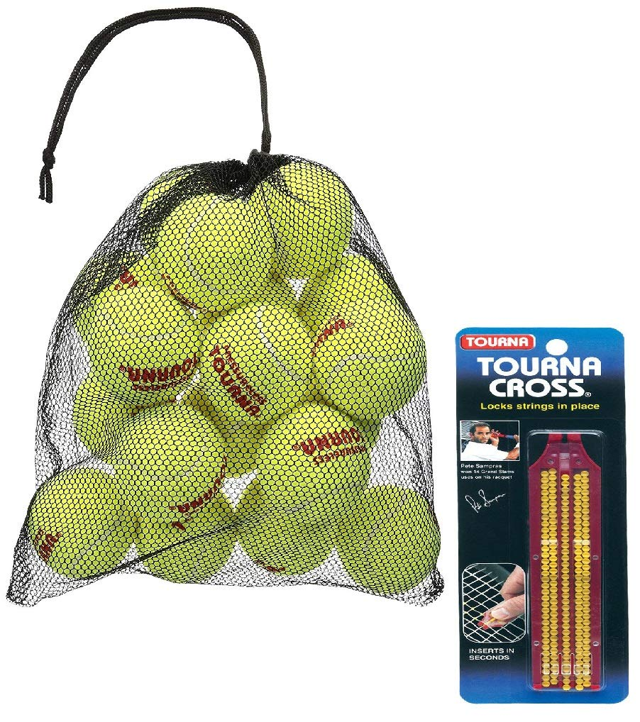Mesh Carry Bag of 18 Tennis Balls & Cross String Saver with Applicator Bunded Edition