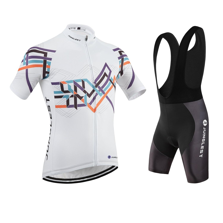 Cycling Jersey Set Wen半袖( S ~ 5 X L、オプション:よだれかけ、3dパッド) n116 B01BUHHAGS  種類: セット(ブラック前掛け) (2.8cm 3D pad)(Chest 45-47inchs)